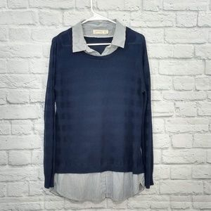 Faded Glory | Dbl Layer Navy LS Top